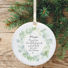 Thank You for Being my Mummy/Daddy Ceramic Keepsake Decoration - Pale Green Wreath Design